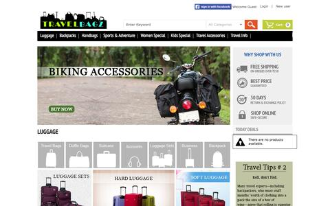 Screenshot of Home Page travelbagz.in - Online Shopping India - Travel Luggage, Backpacks, Laptop Bags, Hiking & Camping Accessories Coupons online | Shopuli.com - captured Jan. 23, 2015
