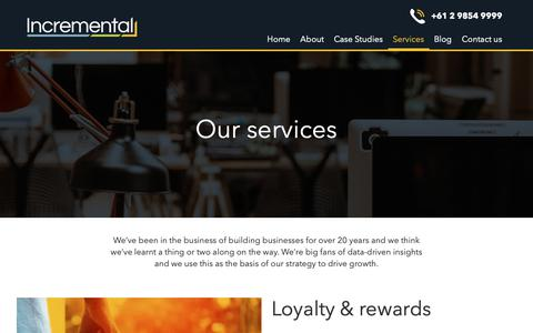 Screenshot of Services Page incremental.com.au - Our services - Incremental - captured Oct. 19, 2018