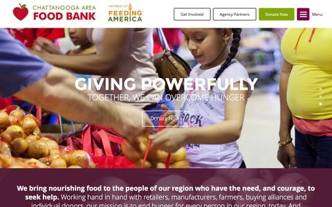 Screenshot of Home Page chattfoodbank.org - Chattanooga Area Food Bank | Home - captured Dec. 4, 2015