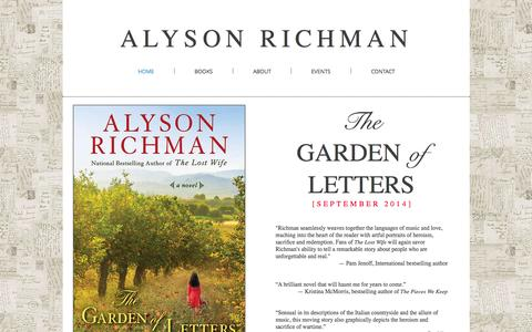 Screenshot of Home Page alysonrichman.com - ALYSON RICHMAN - captured Sept. 22, 2015