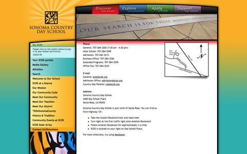 Screenshot of Contact Page Maps & Directions Page scds.org - Sonoma Country Day School ~ Contact SCDS, Santa Rosa Private Schools, Sonoma Private Schools, Rincon Va - captured Feb. 26, 2016