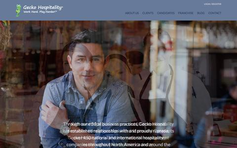 Screenshot of Home Page geckohospitality.com - Hospitality Recruitment   Restaurant Recruitment   Gecko Hospitality - captured July 19, 2015