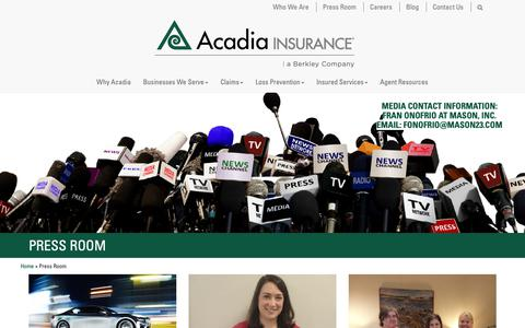Screenshot of Press Page acadiainsurance.com - Press Room - Acadia Insurance - captured Oct. 2, 2018