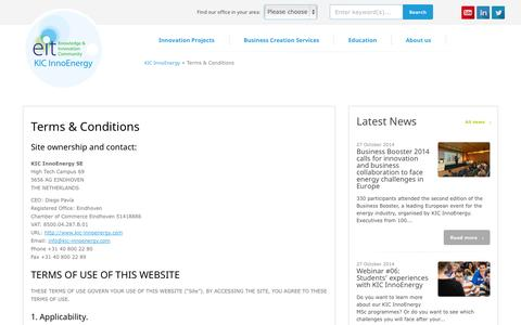 Screenshot of Terms Page kic-innoenergy.com - Terms & Conditions : KIC InnoEnergy - captured Oct. 29, 2014