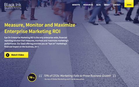 Screenshot of Home Page blackinkroi.com - Marketing ROI Software   Black Ink - captured Sept. 30, 2014