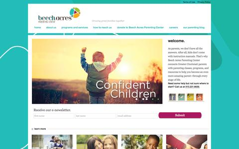 Screenshot of Home Page beechacres.org - Welcome to Beech Acres Parenting CenterBeech Acres Parenting Center - captured Jan. 24, 2015