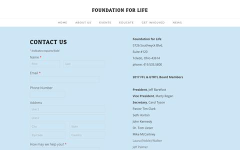 Screenshot of Contact Page fflnwo.org - Contact Us - FOUNDATION FOR LIFE - captured Oct. 11, 2018