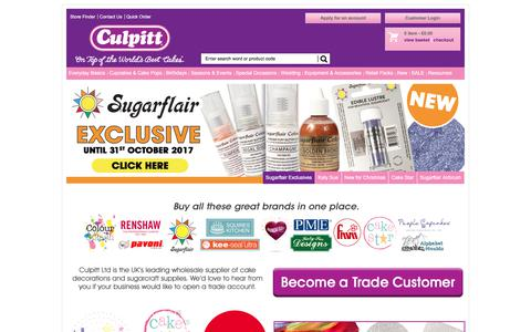 Screenshot of Home Page culpitt.com - Cake Decorating and SugarCrafting Accessories | Cake Decorating Supplier | Trade Sugarcraft and Decoration Supplier - captured Sept. 2, 2017