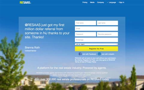 Screenshot of Home Page Login Page resaas.com - RESAAS | The Real Estate Social Network™ - captured July 3, 2015