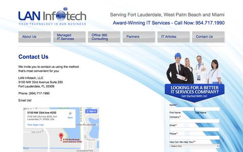 Screenshot of Contact Page laninfotech.com - Contact Us - Fort Lauderdale IT Company - captured Oct. 2, 2016