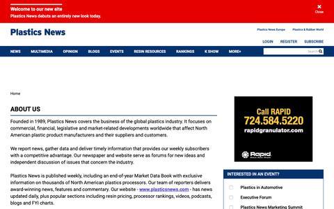 Screenshot of About Page plasticsnews.com - About Us | Plastics News - captured May 24, 2019