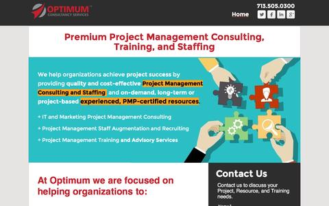 Screenshot of Landing Page optimumcs.com - Optimum - Premium Project Management and Technology Consulting Firm - captured Nov. 25, 2016