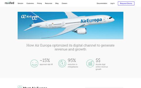 Screenshot of Case Studies Page riskified.com - Air Europa | Riskified - captured Feb. 20, 2020