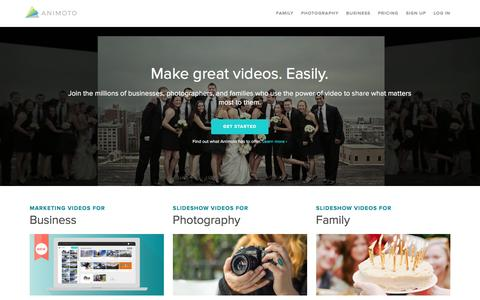 Screenshot of Home Page animoto.com - Animoto - Make great videos. Easily. - captured Oct. 7, 2016