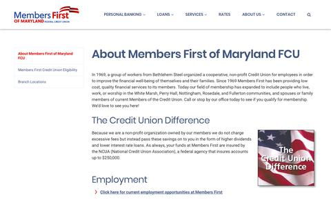 Screenshot of About Page mfirstcu.org - About Us - Members First of Maryland Federal Credit Union - captured July 3, 2018