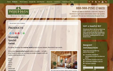 Screenshot of Products Page woodhavenlog.com - Products | WoodHaven Log & Lumber - captured Oct. 26, 2014
