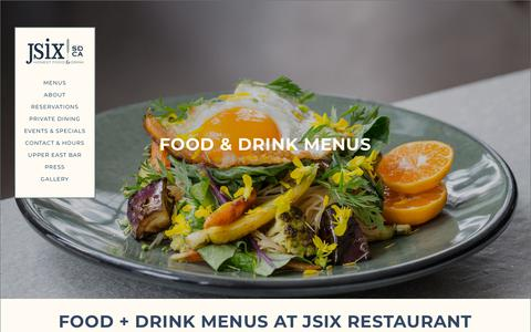 Screenshot of Menu Page jsixrestaurant.com - San Diego Breakfast, Lunch, Dinner & Brunch Menus | JSix - captured Nov. 6, 2018