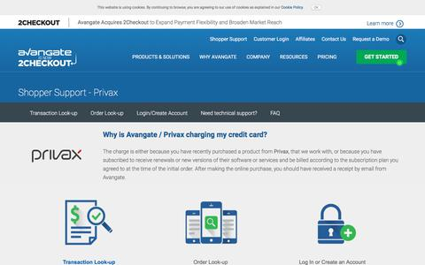 Screenshot of Support Page avangate.com - Customer support related to the order, payment or software delivery   Avangate - captured March 26, 2018