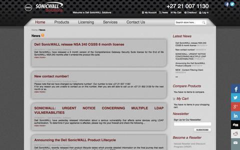 Screenshot of Press Page sonicwallsolutions.com - Dell SonicWALL Solutions  South Africa - captured Nov. 5, 2014