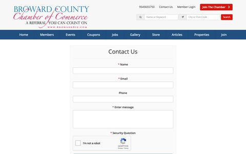 Screenshot of Contact Page browardbiz.com - Contact Us - Broward County Chamber of Commerce - captured Oct. 6, 2018