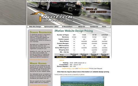 Screenshot of Pricing Page imotionmarketing.com - An Okanagan Based Website Design,Internet Marketing and Search Engine Positioning Website Design Company in Kelowna - captured Oct. 6, 2014