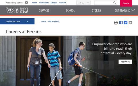 Screenshot of Jobs Page perkins.org - Careers at Perkins | Perkins School for the Blind - captured Nov. 15, 2018