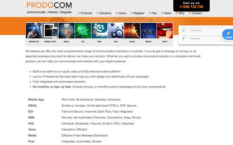 Screenshot of Products Page prodocom.com.au - Comprehensive Range Of Communications Products - captured July 14, 2018