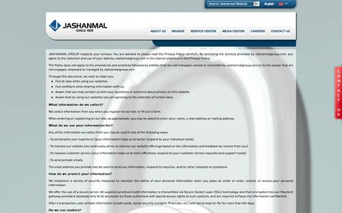 Screenshot of Privacy Page jashanmalgroup.com - Privacy-policy   Jashanmal - captured Oct. 6, 2014