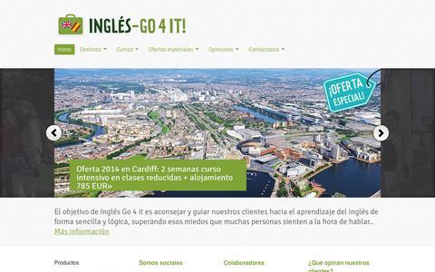 Screenshot of Home Page ingles-go4it.es - Inglés Go4it. Aprende inglés en Inglaterra e Irlanda con nuestros cursos y prácticas en empresas. - captured Oct. 6, 2014