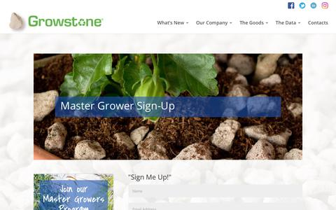 Screenshot of Signup Page growstone.com - Master Grower Sign-Up | Growstone - captured July 25, 2018