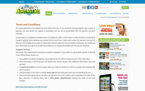 Screenshot of Terms Page cancunadventure.net - Terms and Conditions - Cancun Adventure Tours - captured Jan. 25, 2016