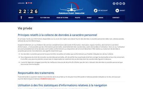 Screenshot of Privacy Page efsimulator.com - European Flight Simulator > Pages - captured Sept. 26, 2018