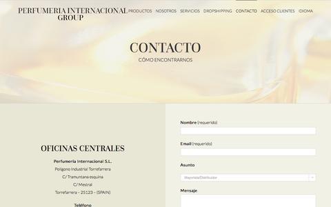 Screenshot of Contact Page perfumeriainternacional.com - CONTACTO - Perfumeria Internacional - captured Nov. 19, 2016