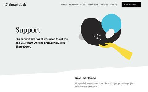 Screenshot of Support Page sketchdeck.com - SketchDeck | Support - captured Nov. 14, 2019