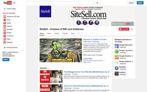 Screenshot of YouTube Page youtube.com - SiteSell - Creators of SBI! and bizXpress  - YouTube - captured Oct. 22, 2014