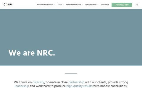 Screenshot of About Page n-r-c.com - About NRC | National Research Center - captured Oct. 18, 2018