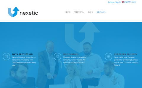 Screenshot of About Page nexetic.com - Company – Nexetic - captured Sept. 20, 2018