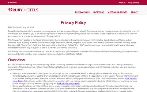 Screenshot of Privacy Page druryhotels.com - Privacy Policy - Drury Hotels - captured Oct. 9, 2018