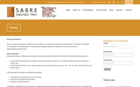 Screenshot of Privacy Page sabretrust.org - Privacy - Sabre Charitable Trust - captured Nov. 17, 2017