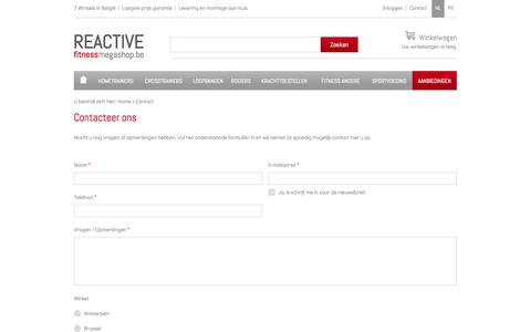 Screenshot of Contact Page fitnessmegashop.be - Contacteer ons - captured Oct. 7, 2014