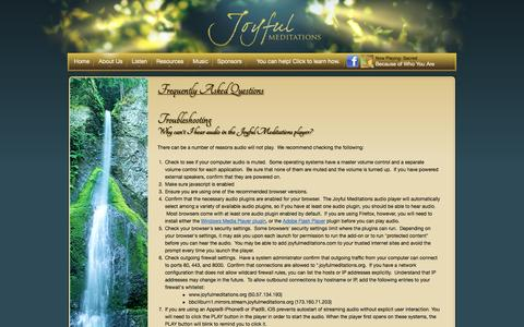 Screenshot of FAQ Page joyfulmeditations.org - Frequently Asked Questions for Joyful Meditations Ministries - captured Oct. 6, 2014