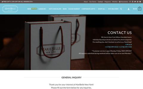 Screenshot of Contact Page mariebelle.com - Contact | MarieBelle New York Chocolates - captured Oct. 5, 2017