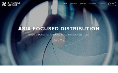 Screenshot of Home Page findingsgroup.com - Findings Group | Asia Focused Distribution - captured Feb. 10, 2016