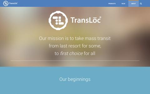 Screenshot of About Page transloc.com - About Us - TransLoc - captured Sept. 18, 2014