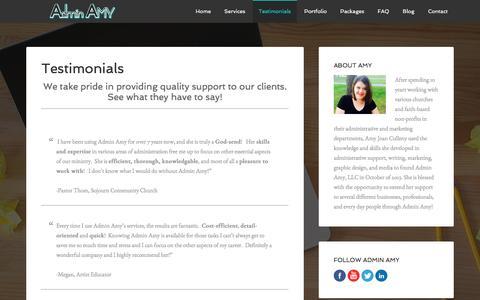 Screenshot of Testimonials Page adminamy.com - Testimonials - captured Nov. 20, 2016