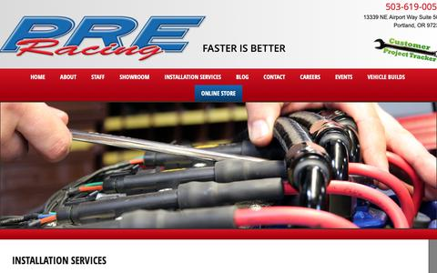 Screenshot of Services Page preracing.com - Installation Services | PREracing.com - captured Sept. 27, 2018