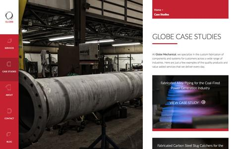 Screenshot of Case Studies Page globemechanical.com - Case Studies - Globe Mechanical - captured June 23, 2016