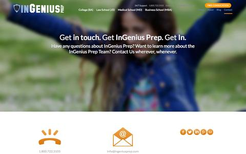 Screenshot of Contact Page ingeniusprep.com - Get Free Admissions Consultation And Admissions Assistance - InGenius Prep Contact | Get In - captured Oct. 29, 2014