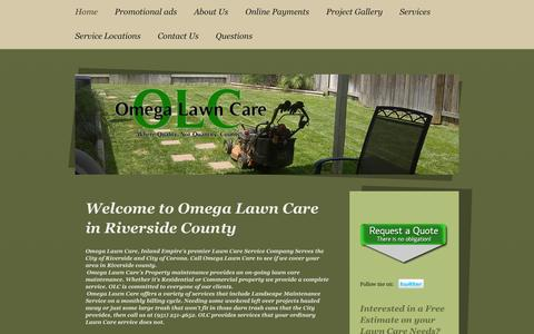 Screenshot of Home Page omegalawncare.com - Main Home Page/ City of Riverside - Landscape Services in City of Riverside, California. Landscape,Lawn Care - Lawn Service - Landscape Maintenance - Landscape - Mowing - Mow - captured Oct. 9, 2014