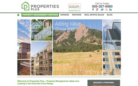 Screenshot of Home Page propertiespluscolorado.com - Welcome to Properties Plus - Property Management, Sales and Leasing in the Colorado Front Range - Properties Plus - captured Oct. 3, 2014